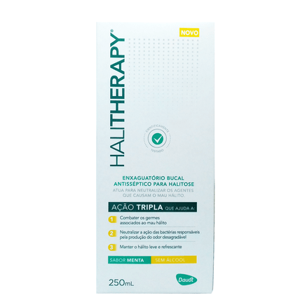 Enxaguatório Bucal Halitherapy Antisséptico para Halitose Sabor Menta 250ml