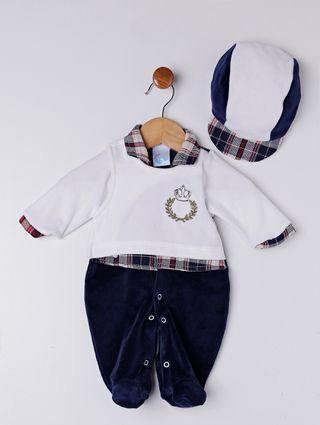 Enxoval Infantil para Bebê Menino - Branco/azul Marinho