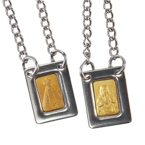 Escapulário de Aparecida Inox Dourado Mini | SJO Artigos Religiosos