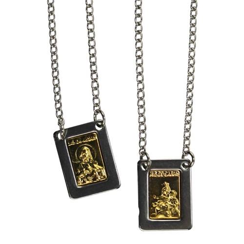 Escapulário de Inox Quadrado com Dourado   SJO Artigos Religiosos