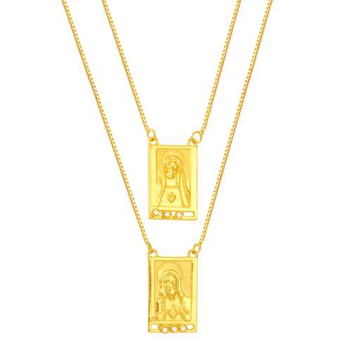 Escapulário em Ouro 18K N. Sra de Carmo e Sagrado Coração com Diamantes - AU5421 - 60CM