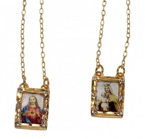 Escapulário Folheado a Ouro com Strass | SJO Artigos Religiosos