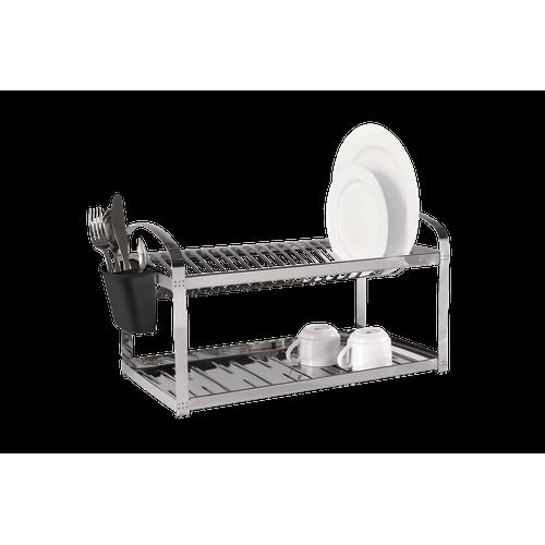 Escorredor Aço Inox 20 Pratos com Escorredor de Talheres Plástico - Suprema 52 X 27 X 28,5 Cm