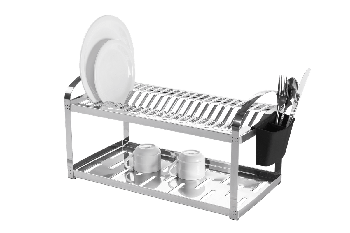 Escorredor Aço Inox 20 Pratos com Escorredor de Talheres Plástico - Suprema 60 X 27 X 28,5 Cm