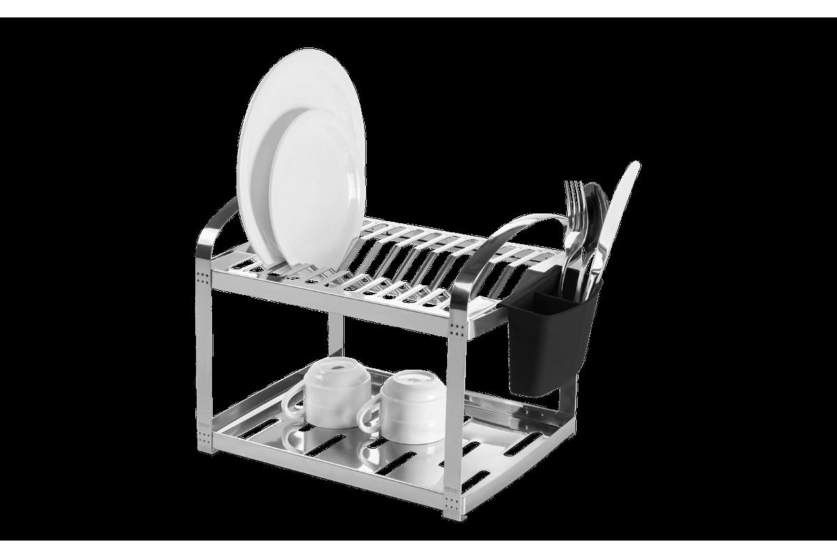 Escorredor Aço Inox 12 Pratos com Escorredor de Talheres Plástico - Suprema 41,5 X 27 X 28,5 Cm