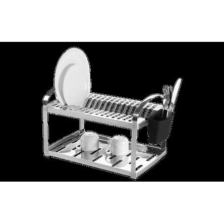 Escorredor Aço Inox 16 Pratos com Escorredor de Talheres Plástico - Suprema 50,5 X 27 X 28,5 Cm