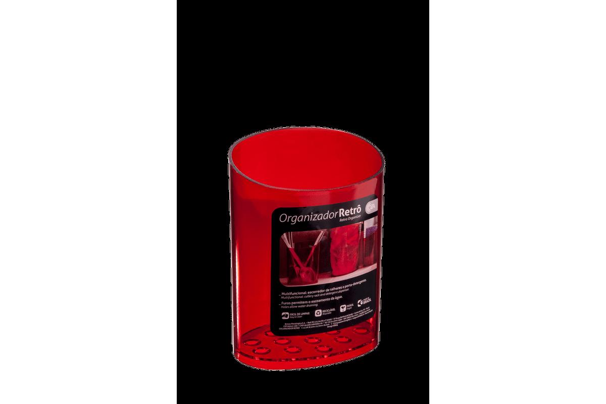 Escorredor de Talheres Glass 11,7 X 8,1 X 16,2 Cm Vermelho Transparente Coza