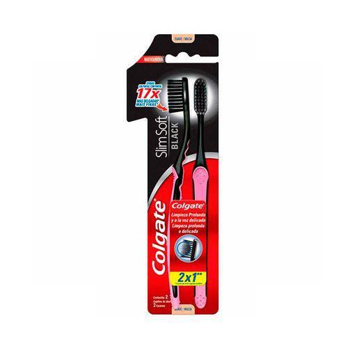 Escova de Dente Colgate Slim Soft Black Cerdas Macias Leve 2 Pague 1