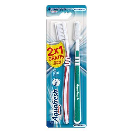 Escova Dental Aquafresh Flex Média Cores Sortidas 1 Unidade + 1 Grátis