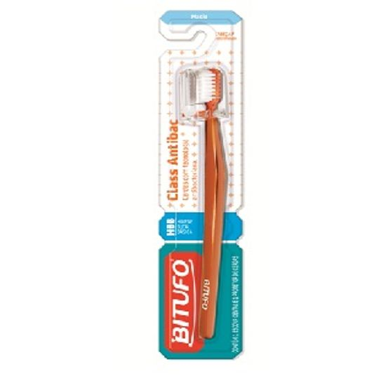 Escova Dental Bitufo Class Antibac Macia Cabeça P Arredondada