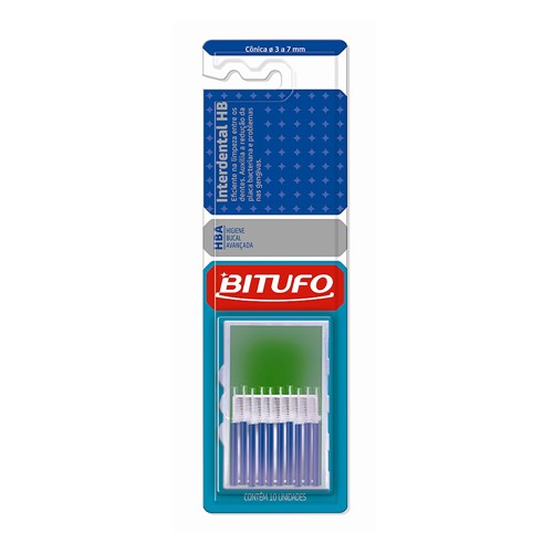 Escova Dental Bitufo Interdental HB Cônica 3 a 7 Mm com 10 Unidades