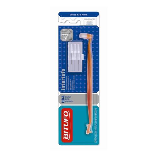 Escova Dental Bitufo Intertufo Cônica 3 a 7 Mm Cores Sortidas com 6 Refis Interdentais