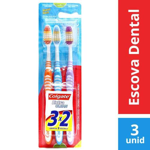 Escova Dental Colgate Extra Clean Média C/3 Unidades LV3 PG2