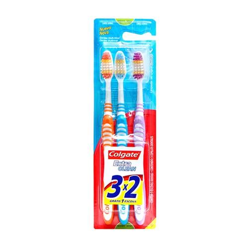 Escova Dental Colgate Extra Clean Média Cores Sortidas com Limpador de Língua Leve 3 Pague 2 Unidades