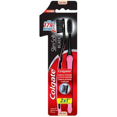 Escova Dental Colgate Slim Soft Black Leve 2 e Pague 1
