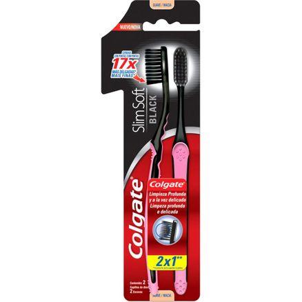 Escova Dental Colgate Slim Soft Black Macia Leve 2 Pague 1