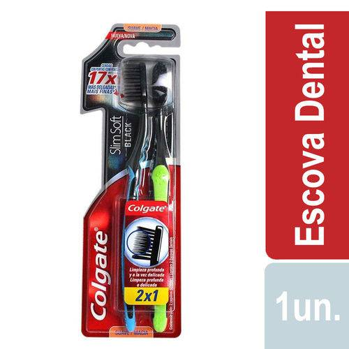 Escova Dental Colgate Slim Soft Black Suave Macia LV2 PG1