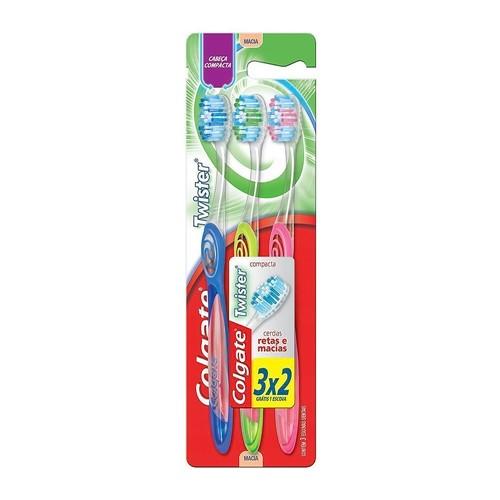 Escova Dental Colgate Twister Cabeça Compacta Cores Sortidas Leve 3 Pague 2