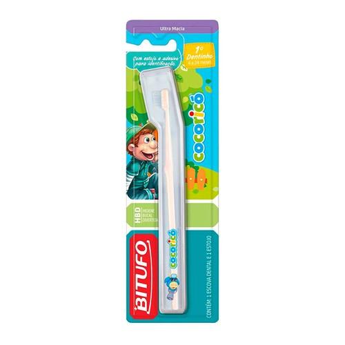 Escova Dental Infantil Bitufo Cocoricó de 4 a 24 Meses Ultra Macia Cores e Personagens Sortidos com 1 Unidade