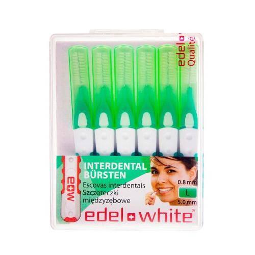 Escova Dental Suíça Edel-White Interdental Id6 L 0,8mm C/ 6 Unidades Cabo Compacto Antiderrapante