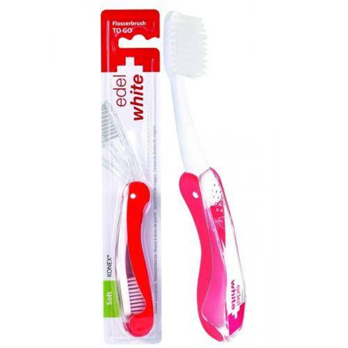 Escova Dental Suíça Edel-White Soft Flosserbrush To Go Cerdas Microfinas P/ Viagem