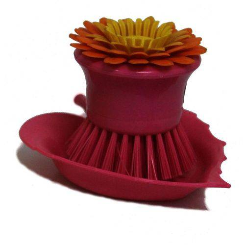 Escova para Louça Flor Rosa Basic Kitchen