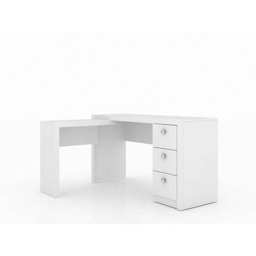 Escrivaninha de Canto Branco com 3 Gavetas