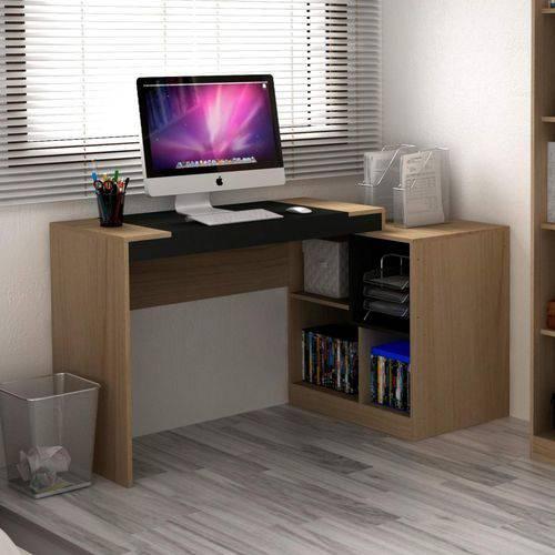 Escrivaninha Multifuncional 2 em 1 com 4 Nichos HO-2904 Home Office Hecol Móveis Avelã TX/Ônix