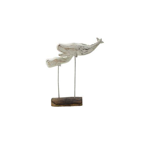 Escultura Baleia Branca com Duas Bases