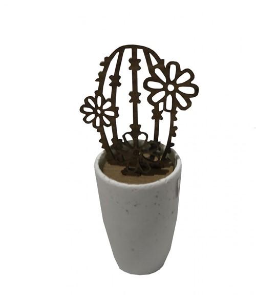 Escultura Cactus Madeira Vaso Cerâmica 21 Cm - Occa Moderna