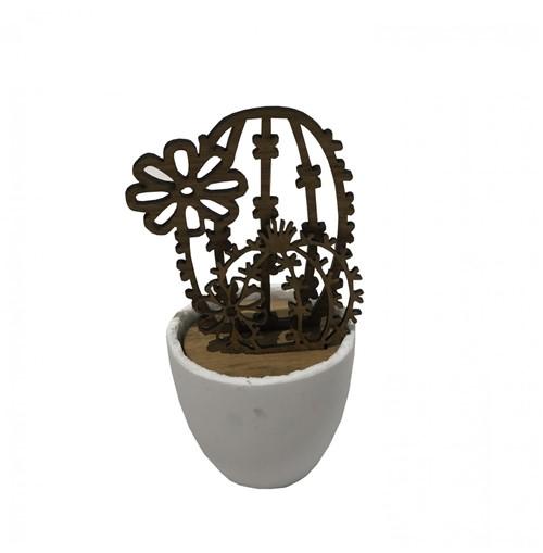 Escultura Cactus Madeira Vaso Cerâmica 19 Cm - Occa Moderna