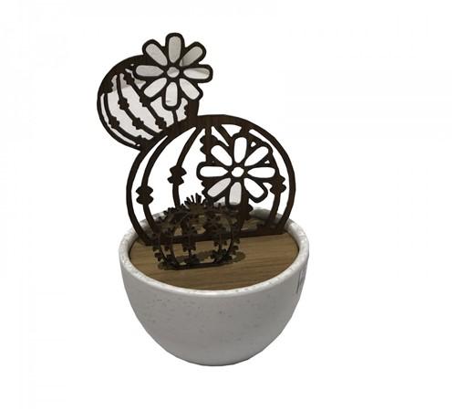 Escultura Cactus Madeira Vaso Cerâmica 22 Cm - Occa Moderna