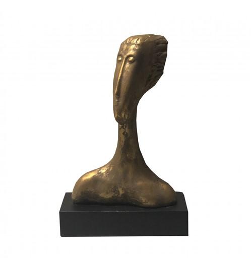 Escultura Face Resina /Madeira Dourado 38cm - Occa Moderna
