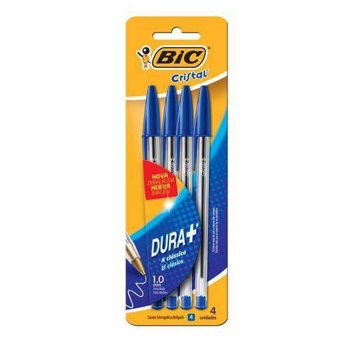 Esferográfica Cristal Dura+ Azul 1,0mm C/ 4 Unid - Bic