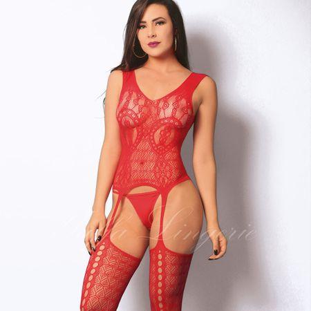 Espartilho em Renda Super Sexy-Vermelho-UNICO