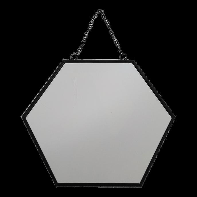 Espelho 20 Cm - Hexagonal Preto