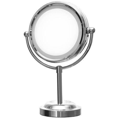 Espelho de Aumento com Luz Dupla Face e Suporte Mor