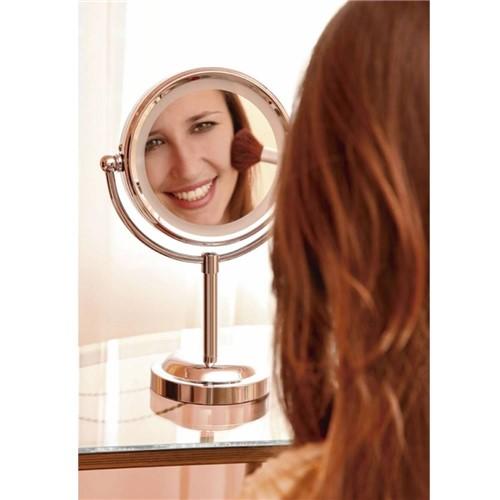 Espelho de Aumento 2x Dupla Face Giratório 360° Iluminado Luz Led - Mr8 8484