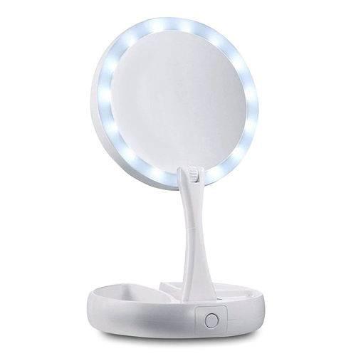 Espelho de Maquiagem Articulável com Luz de Led