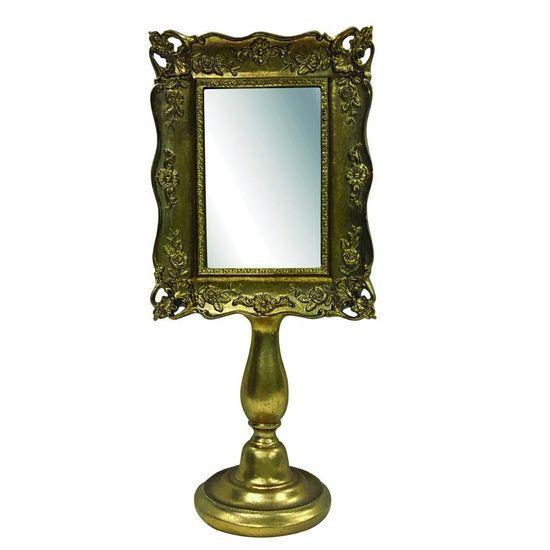 Espelho de Mesa Rosas com Pe Dourado
