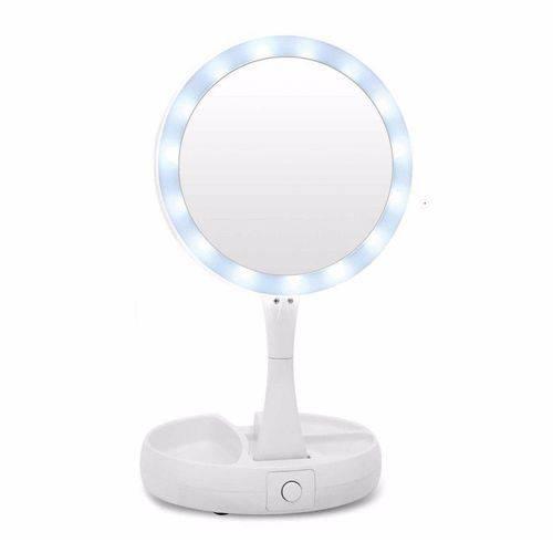 Espelho Dupla Face Porta Maquiagem Dobrável Led