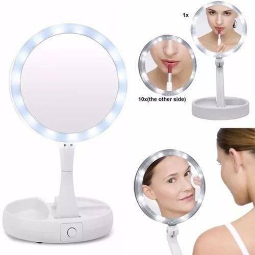 Espelho Luzes Led Dupla Face com Aumento 10 X