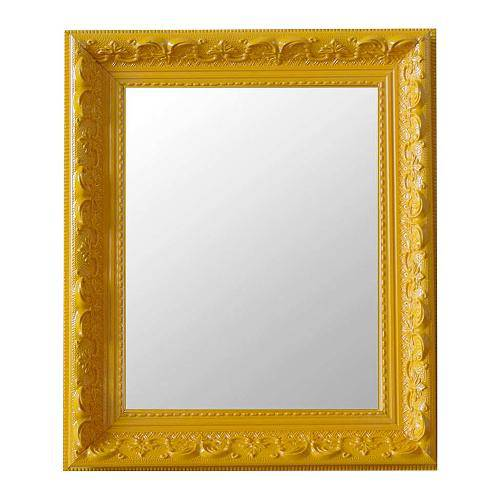 Espelho Moldura Rococó Raso 16371 Amarelo Art Shop
