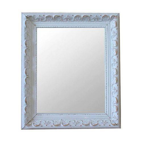 Espelho Moldura Rococó Raso 16279 Branco Patina Art Shop