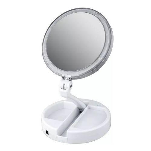 Espelho para Maquiagem Articulável com Led Aumenta 10x 1x