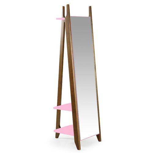 Espelho Stoka Laca Nogal/Rosa Cristal - Máxima
