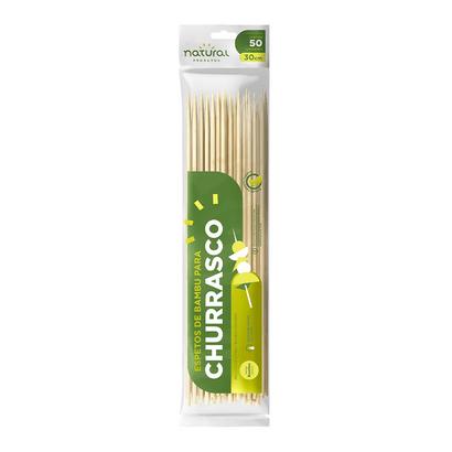 Espeto de Bambu 30cm com 50 Unidades Natural