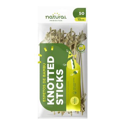 Espeto de Bambu Knotted Sticks 15cm C/50 Un Natural