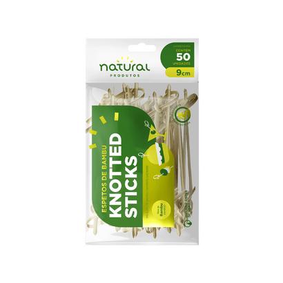 Espeto de Bambu Knotted Sticks 9cm C/50 Un Natural