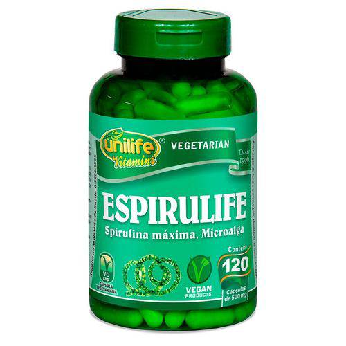 Espirulife Spirulina 120 Cápsulas (500mg) - Unilife